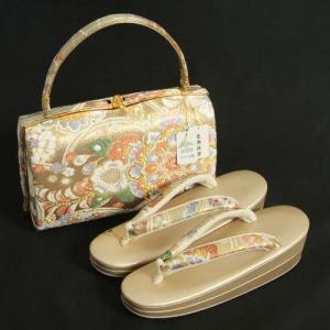 草履バックセット 振袖 訪問着 留袖 金鷲ブランド ゴールド 皇帝貝紫 正絹袋帯地使用 唐華文様 二枚芯 Mサイズ 日本製|doresukimono-kyoubi