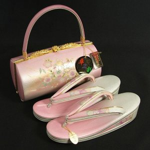 草履バックセット 振袖 訪問着 ピンク濃淡ボカシ 桜柄 華三彩ブランド 本皮製品 三枚芯 LLサイズ 日本製