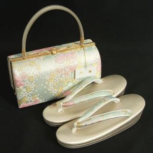 草履バックセット 振袖 訪問着 白梅ブランド パールシルバー 水色 金銀糸仕様 二枚芯 フリーサイズ 日本製