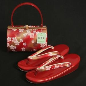 草履バッグセット 振袖 訪問着 赤地ゴールドぼかし 大小桜柄 一枚芯 LLサイズ 丸筒型バッグ 日本製|doresukimono-kyoubi