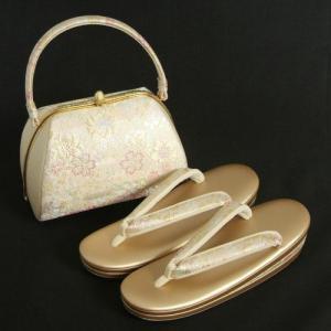草履バックセット 振袖 訪問着 シルバーゴールド 淡いピンクぼかし 織生地 桜 三枚芯  LLサイズ 日本製