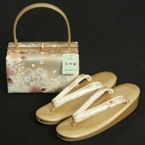 草履バッグセット 振袖 訪問着 ゴールドシルバーぼかし 桜流水柄 一枚芯 フリーサイズ 角型バッグ 日本製|doresukimono-kyoubi