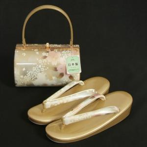 草履バッグセット 振袖 訪問着 ゴールドシルバーぼかし 桜流水柄 一枚芯 LLサイズ 丸筒型バッグ 日本製|doresukimono-kyoubi