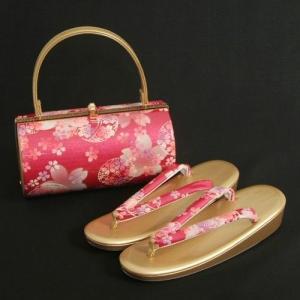 草履バックセット 振袖 訪問着 濃ピンク ゴールド 桜まり 丸筒型バッグ 一枚芯 Lサイズ 日本製|doresukimono-kyoubi