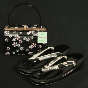 草履バッグセット 振袖 訪問着 黒銀市松 小桜柄 一枚芯 LLサイズ 角型バッグ 日本製