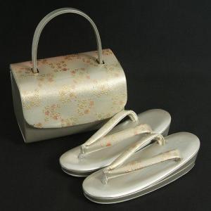 草履バックセット 振袖 訪問着 シルバー 淡いゴールドピンクぼかし 小桜 二枚芯 Sサイズ 日本製 |doresukimono-kyoubi