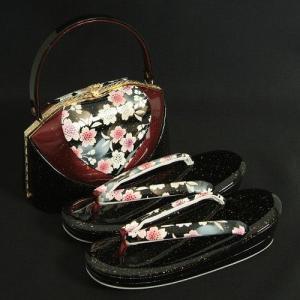 草履バックセット 振袖 訪問着 黒エンジ切替 桜柄 二枚芯  LLサイズ 日本製|doresukimono-kyoubi