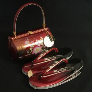 草履バックセット 振袖 訪問着 赤黒濃淡切替 桜柄 華三彩ブランド 本皮製品 三枚芯 LLサイズ 日本製