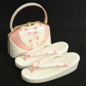 草履バックセット 振袖 訪問着 白 ピンク切替 桜柄 二枚芯 LLサイズ 日本製