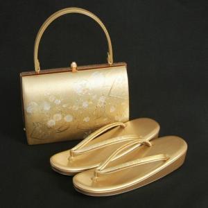 草履バックセット 振袖 訪問着 留袖 ゴールド 桜 扇面地紙柄 一枚芯 フリーサイズ 日本製