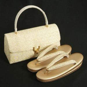 草履バッグセット 振袖 訪問着 留袖 ゴールド 有職七宝紋 織生地使い 三枚芯 フリーサイズ 日本製