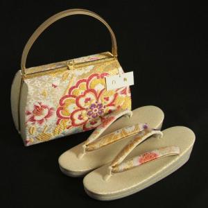草履バックセット 振袖 訪問着 留袖 白梅ブランド シャイニーゴールド 帯地使い 金銀糸仕様 二枚芯 フリーサイズ 日本製|doresukimono-kyoubi