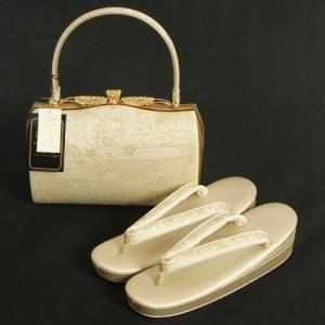 草履バッグセット 振袖 訪問着 留袖 紗織ブランド パールゴールド 華流水文様 帯地使い Lサイズ パールトーン加工 日本製