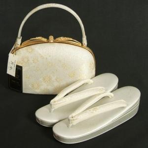 草履バッグセット 振袖 訪問着 留袖 紗織ブランド パールシルバー ゴールド 有職重ね菱文様 帯地使い Lサイズ 三枚芯 パールトーン加工 日本製