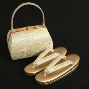 草履バックセット 振袖 訪問着 ゴールド シルバー 菱華流水柄 三枚芯 Sサイズ  日本製|doresukimono-kyoubi