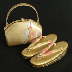 草履バックセット 振袖 訪問着 ゴールド シルバー柄切替 牡丹 三枚芯 Sサイズ 日本製|doresukimono-kyoubi