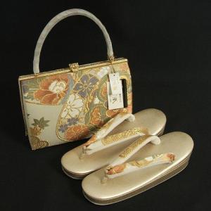 草履バッグセット 振袖 訪問着 紗織ブランド 西陣織正絹 パールゴールド 芍薬 桜 パールトーン加工 三枚芯 Mサイズ 日本製