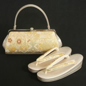 草履バッグセット 振袖 訪問着 西陣織正絹生地使用 ゴールド 七宝 唐花 横長バッグ フリーサイズ 二枚芯 日本製|doresukimono-kyoubi