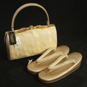 草履バックセット 振袖 訪問着 留袖 紗織ブランド ゴールド シルバー 有職文様 帯地使い Mサイズ パールトーン加工 日本製