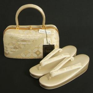 草履バッグセット 振袖 訪問着 留袖 紗織ブランド パールゴールド 七宝有職文様 Lサイズ 二本手バック パールトーン加工 三枚芯 日本製