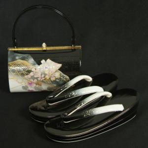 草履バッグセット 振袖 訪問着 黒シルバーぼかし 蔦桜柄金彩  丸型バック 二枚芯 LLサイズ 日本製