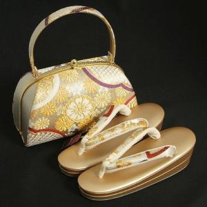 草履バックセット 振袖 訪問着 留袖 シルバー ゴールド 織生地 牡丹 二枚芯 Sサイズ 日本製 |doresukimono-kyoubi
