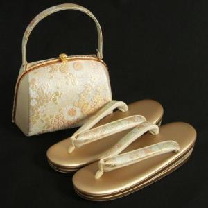 草履バックセット 振袖 訪問着 ゴールド シルバー 桜七宝柄 三枚芯 LLサイズ  日本製|doresukimono-kyoubi