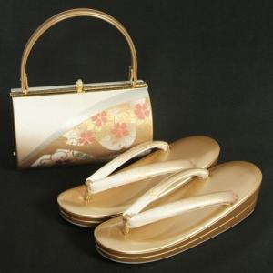 草履バッグセット 振袖 訪問着 ゴールドベージュぼかし 桜柄金彩 丸筒型バック 二枚芯 LLサイズ 日本製|doresukimono-kyoubi