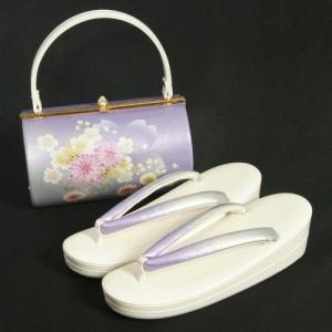 草履バッグセット 振袖 訪問着 藤色シルバーぼかし 牡丹柄金彩 丸筒型バッグ 二枚芯 LLサイズ 日本製