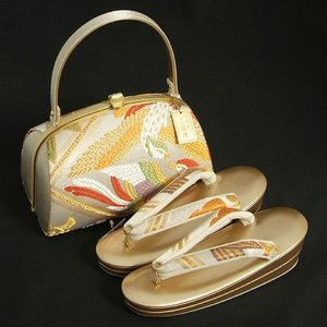 草履バックセット 西陣織正絹帯地仕様 振袖 訪問着 留袖 シルバー ゴールド 鳳凰 二枚芯 Sサイズ 日本製