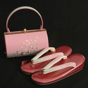 草履バックセット 振袖 訪問着 エンジピンク シルバーぼかし 桜刺繍使い 二枚芯 LLサイズ 丸筒型バック 日本製