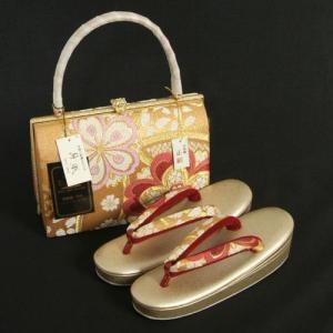 草履バックセット 西陣織正絹帯地仕様 紗織ブランド 振袖 訪問着 留袖 ゴールド 桜 三枚芯 Sサイズ 日本製