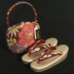 草履バックセット 西陣織正絹帯地仕様 紗織ブランド 振袖 訪問着 エンジ ゴールド 牡丹 三枚芯 Sサイズ 日本製|doresukimono-kyoubi