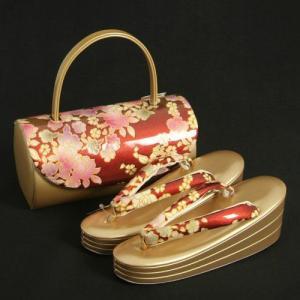 草履バックセット 振袖 訪問着 エンジ ゴールド 牡丹柄 丸筒型バック 三枚芯 Sサイズ 日本製|doresukimono-kyoubi