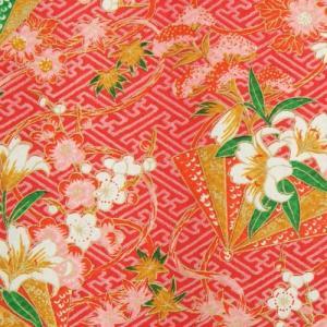 手染め友禅和紙 赤 華柄 四六全版サイズ 1091cm×788cm 10枚セット|doresukimono-kyoubi