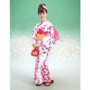 浴衣 リョウコキクチブランドゆかた5点セット しだれ桜 白 浴衣に帯、下駄、きんちゃく、兵児帯までついたセットです 綿紅梅 アウトレット商品 |doresukimono-kyoubi
