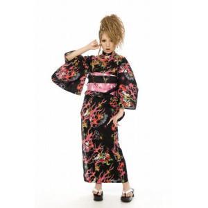 浴衣 さくりな・桜井莉菜プロデュース ハイグレード浴衣・帯・下駄の3点セット ブラック|doresukimono-kyoubi