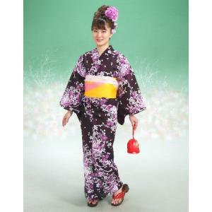 浴衣 リョウコキクチブランドゆかた5点セット 乱菊柄 黒紫 浴衣に帯、下駄、きんちゃく、兵児帯までついたセットです 綿紅梅 アウトレット商品|doresukimono-kyoubi