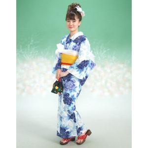 浴衣 リョウコキクチブランドゆかた5点セット 芍薬柄 白ブルー 浴衣に帯、下駄、きんちゃく、兵児帯までついたセットです 綿紅梅 アウトレット商品|doresukimono-kyoubi