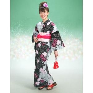 浴衣 HLブランドゆかた5点セット 薔薇柄 黒グレー 浴衣に帯、下駄、きんちゃく、兵児帯までついたセットです 綿紅梅 アウトレット商品|doresukimono-kyoubi