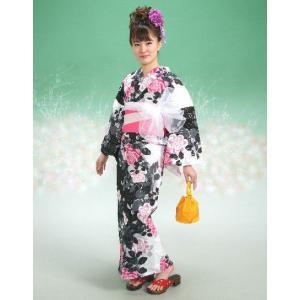浴衣 HLブランドゆかた5点セット 薔薇柄 黒白 浴衣に帯、下駄、きんちゃく、兵児帯までついたセットです 綿紅梅 アウトレット商品|doresukimono-kyoubi