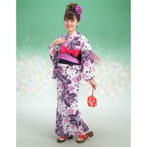 浴衣 ハイビスカスブランドゆかた5点セット ハイビスカス柄 黒紫 浴衣に帯、下駄、きんちゃく、兵児帯までついたセットです 綿紅梅 アウトレット商品|doresukimono-kyoubi