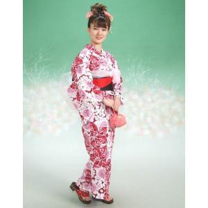 浴衣 ハイビスカスブランドゆかた5点セット ハイビスカス柄 赤 浴衣に帯、下駄、きんちゃく、兵児帯までついたセットです 綿紅梅 アウトレット商品|doresukimono-kyoubi