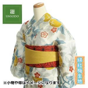 浴衣 ゆかた 単品 芸艸堂ブランド 白色 橘 綿紅梅生地使用 綿100% 日本製