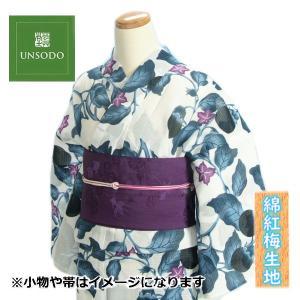 浴衣 ゆかた 単品 芸艸堂ブランド 藍色 茄子 綿紅梅生地使用 綿100% 日本製