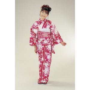 浴衣 ジュニアサイズ リョウコキクチブランドゆかた6点セット 赤 浴衣に結び帯、下駄、縫い付け済み腰紐までついたセットです 130cm|doresukimono-kyoubi