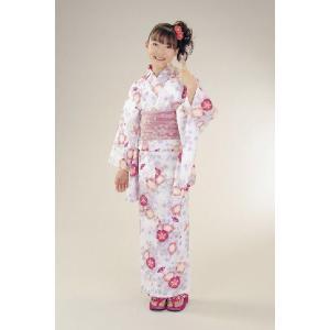 浴衣 ジュニアサイズ リョウコキクチブランドゆかた6点セット 白ピンク 浴衣に結び帯、下駄、縫い付け済み腰紐までついたセットです 130cm
