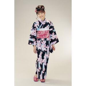 浴衣 ジュニアサイズ リョウコキクチブランドゆかた6点セット 黒 浴衣に結び帯、下駄、縫い付け済み腰紐までついたセットです 130cm|doresukimono-kyoubi