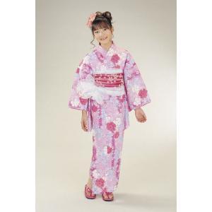 浴衣 ジュニアサイズ リョウコキクチブランドゆかた6点セット ピンク 浴衣に結び帯、下駄、縫い付け済み腰紐までついたセットです 130cm|doresukimono-kyoubi