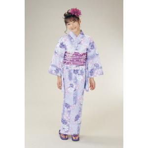 浴衣 ジュニアサイズ リョウコキクチブランドゆかた6点セット パープル 浴衣に結び帯、下駄、縫い付け済み腰紐までついたセットです 130cm|doresukimono-kyoubi